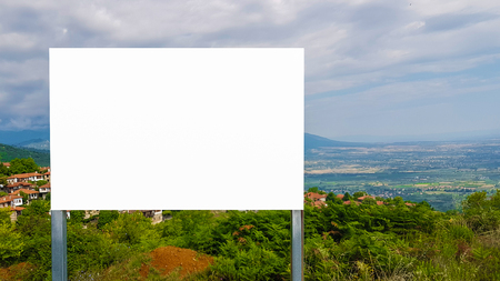 Large Outdoor Blank Banner Poster Mock Up Sign With Metal Frame In Nature With Beautifull View.Isolated Template Clipping Path