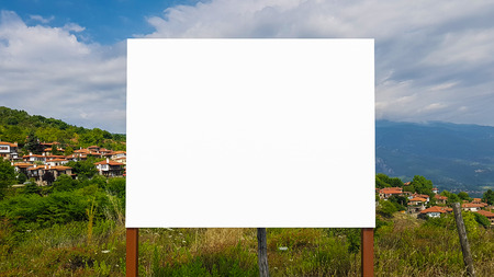 Blank Advertisement Billboard Sign Urban Public White Isolated Clipping Path Template Ad Banner Mock Up