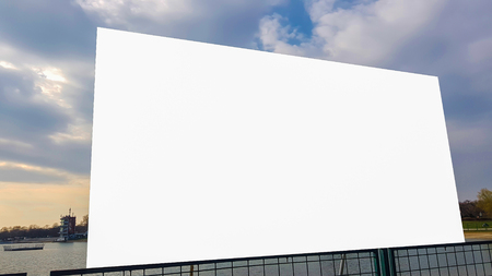 Large Blank Advertisement Billboard White Clipping Path Isolated Banner Ad Template Mock Up