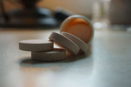 Vitamin C effervescent tablets outside the can