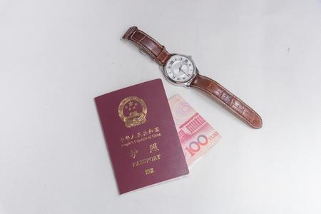 Watch passport money Stock Photo
