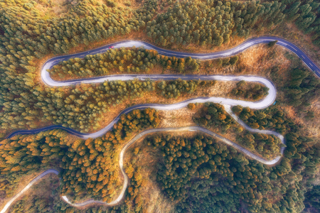 aerial view of Curved mountain road 版權商用圖片