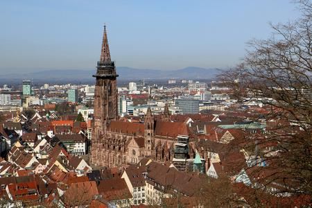 dom: Freiburg Minster, une église médiévale dans la ville de Fribourg, au bord de la Forêt-Noire, en Allemagne Banque d'images