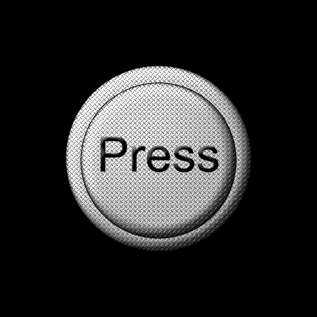 powerbutton: Press Button in silver metal with the word Press on the top of the button  Stock Photo