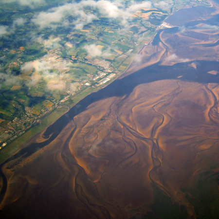 landfall: River aerial view with mud flats