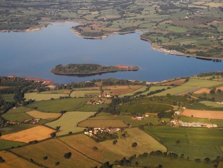 landfall: Island Lake from the Air Stock Photo