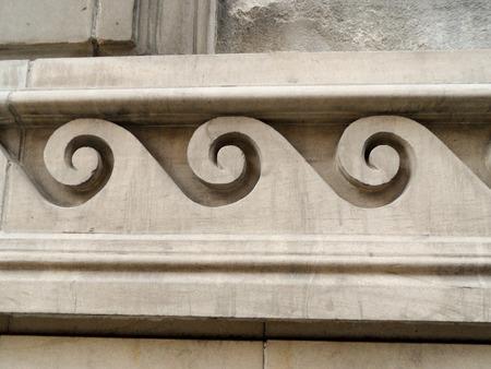 lintel: Architectural three Scrolls frieze