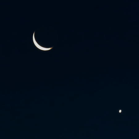 waxing gibbous: Crescent Moon and Venus Dark Blue Sky