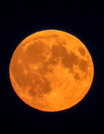 waxing gibbous: Orange Full Moon Stock Photo