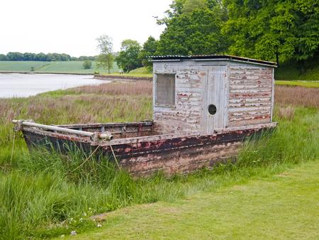 elliot: Flat Bottom Boat Port Eliot Stock Photo