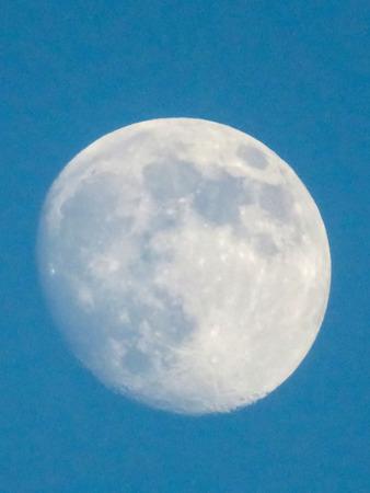 waning moon: Moon on a Blue Sky