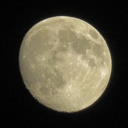 waning moon: Moon on a Black Sky Stock Photo