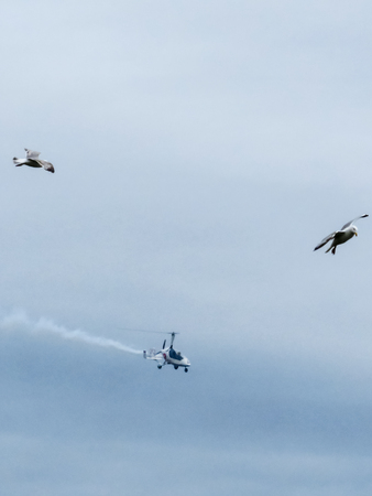plymouth: Plymouth Airshow, Light Aerocopter With Seagulls