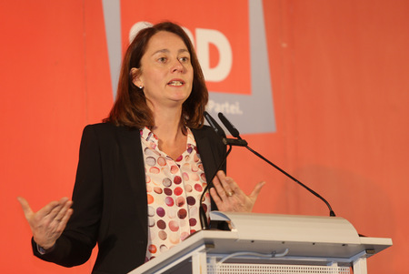 06012017 - Munich, Hofbr�ukeller (Ballroom) - Katarina Barley, member of the Bundestag and the SPD General Secretary adressing visitors of Dreikoenig meeting of SPD Munich Editorial