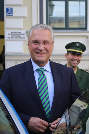 2015-09-29, Munich, Joachim Herrmann (CSU), Home Secretary of Bavaria in Germany, is presenting a new type of police car Editorial