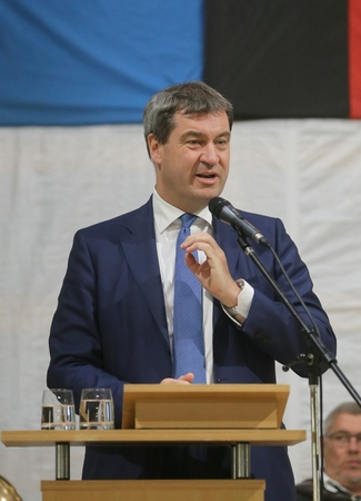 May 15, 2017 - Munich, Germany - Markus Soeder, CSU, Bavarian Minister of State for Finance, for Country Development and Home at a topping-out ceremony of a government building Editorial