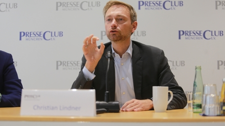 September 19, 2017 - Munich, Germany - Christian Lindner, top candidate FDP party to the 2017 Bundestag elections visiting International PressClub Munich