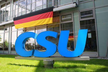 June 27, 2016 - Munich (Germany) - logo and brand of the party Christian Social Union CSU (in the courtyard of the CSU building) Editorial