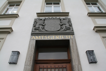 April 4, 2014 - Landsberg (Germany) - Entrance to the District Court of the City of Landsberg in Germany Editorial