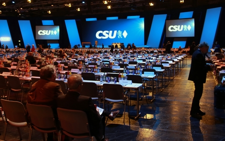 November 4, 2016 - Munich, Germany - CSU party convention: delegates' seats Editorial