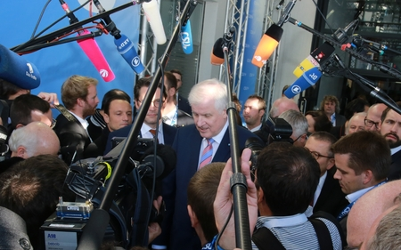 November 4, 2016 - Munich, Germany - CSU party chairman and Minister President of Bavaria, Horst Seehofer, talking to the press at CSU party convention entry