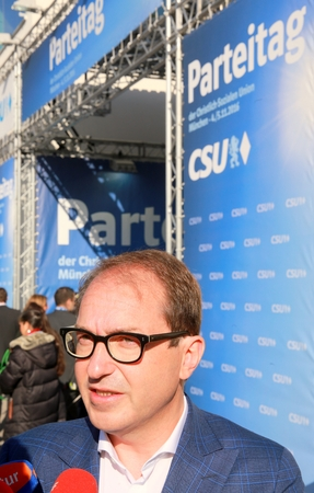 November 4, 2016 - Munich, Germany - CSU party convention: Alexander Dobrindt, German transport minister, talking to the press at CSU party convention entry Editorial