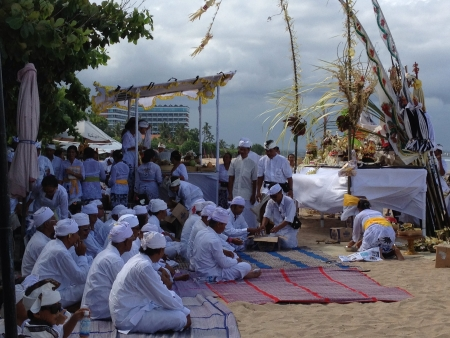 sanur: This was a ceremony performed due to the arrival of the full moon. Sanur Beach Bali. Stock Photo