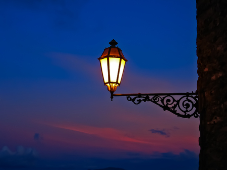 erice: An old lantern in night Erice (Sicily, Italy)