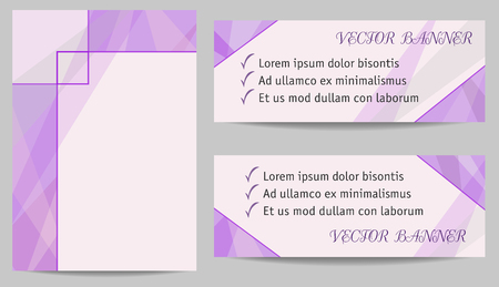 Cover and two banners templates. Delicate lilac abstract backgrounds with text place. Modern technology layouts for brochures, booklets, leaflets, posters, presentations, annual reports, web sites. Vector EPS10