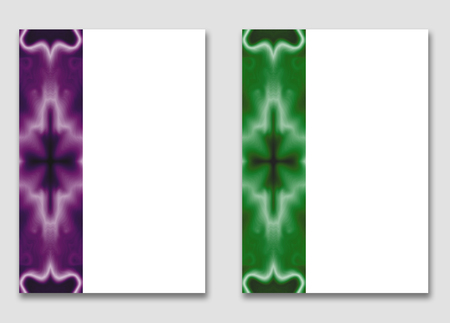 Set of brochure covers A4. Template with large white box for text and picture. Vertical purple and green ornamental strip on the layout. Fairy, gothic image