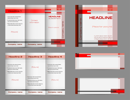 template set of tri fold brochure layout square cover and two