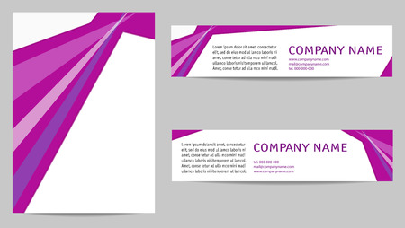 Brochure layout A4 and two banners. Light text space on magenta background with transparent triangles. Template set for book covers, magazines, portfolio, posters, flyers. EPS10 vector design Illustration