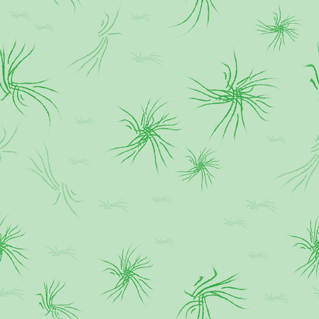 Pattern seamless. Green abstract shapes from strokes on the light green background. Square fantastic template. Chaotic stylized figures. Vector EPS8 illustration