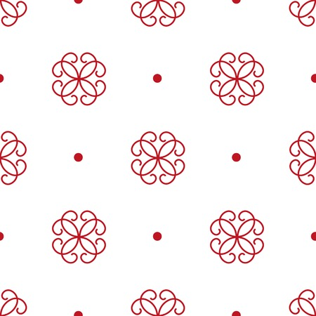 Seamless pattern of stylized red flowers and points. Traditional ornament on the white background. Vector illustration