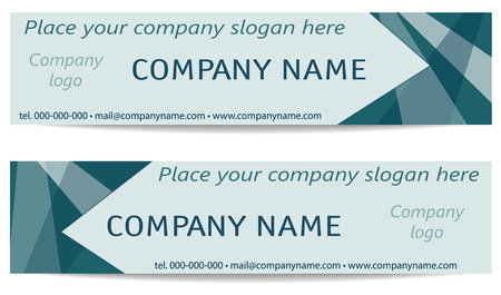 Headers Design. Two Business geometric Banners set, blue-green, teal tones. Sample Text. Classical minimalistic Template. Modern Technology Layout for cards, websites, advertising, marketing, corporate style. Flat graphic. Vector illustration
