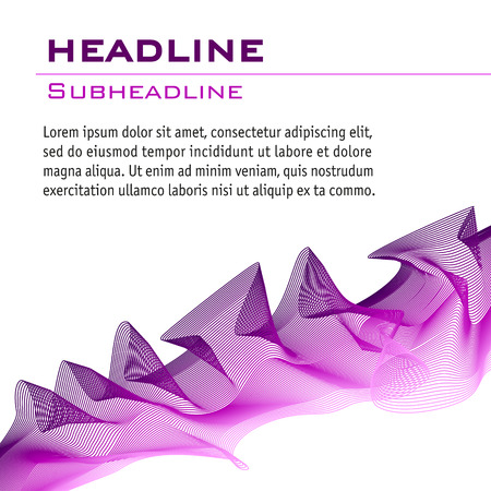 Wave pattern in purple and pink. Abstract vector background. Technology layout for book, magazine covers. Artistic template for invitations, posters, leaflets, flyers, portfolio, web pages, booklets. Illustration