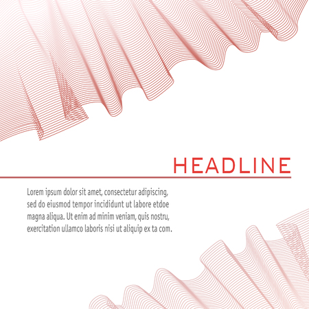 Brochure layout decorated with red wave pattern imitated textile. Vector square abstract background. Technology template for book, magazine covers, posters and leaflets. Illustration