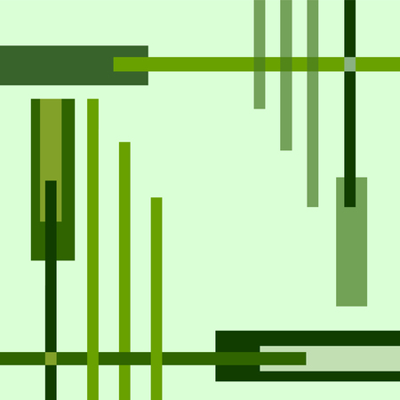 Green geometric vector background with bright cross strips. Abstract template for conceptual design.