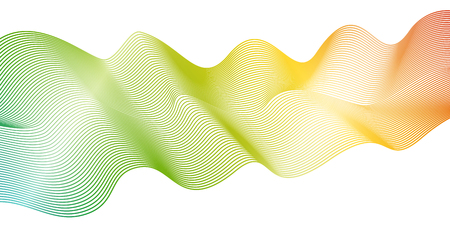 Abstract rainbow wave pattern on white background. Vector colorful spectrum waving lines. Line art design concept. Bright flowing shiny waves, ribbon imitation. EPS10 illustration Illustration