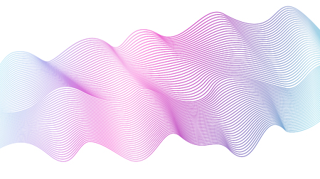 Abstract wavy striped pattern on white background. Vector vibrant purple, pink, blue wave. Line art design element. Colorful flowing shiny waves, ribbon imitation. EPS10 illustration Illustration