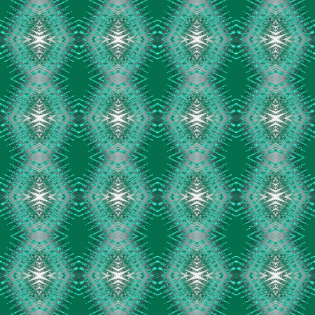 Seamless pattern in green and white art elements. Abstract kaleidoscope background. Symmetric ornament. Square template for fashion design, wallpapers, wrapping paper, scrapbooking, greeting cards, web pages Stock Photo