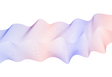 Abstract wavy line art pattern on white background vector pale blue, orange, beige wave ornate. Pastel decorative design element. Multicolored flowing shiny waves, ribbon imitation.