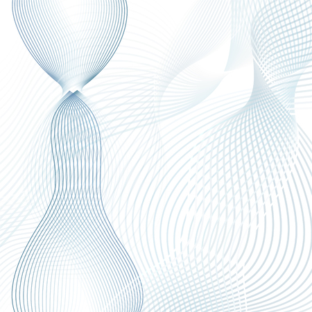 Scientific and technical background. Abstract waves. Line art futuristic design, wavy technology pattern. Modern waving lines template in blue, gray, white hues. Vector EPS10 illustration Stock Illustratie