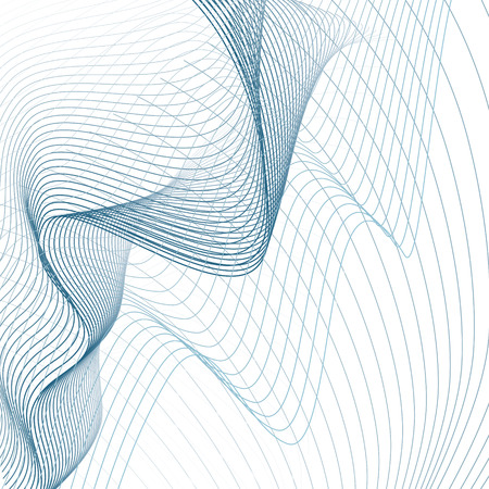 Blue net pattern on white background. Scientific and technical template. Line art modern sci-tech design, wavy technology grid. Abstract futuristic waving lines. Vector EPS10 illustration Stock Illustratie