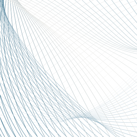 Technology net background. Abstract colored vector pattern of waving lines. Line art futuristic design. Modern scientific wavy template in blue, gray, white hues Illustration