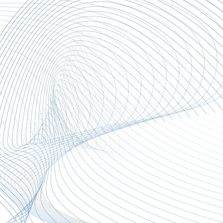 Abstract futuristic waves. Line art design, vector wavy technology pattern. Scientific background. Energy, power concept. Modern waving lines template in blue, gray, white hues