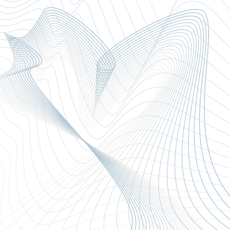 Abstract futuristic line art pattern. Wavy technology design. Scientific background. Media concept. Modern waving lines vector template in blue, gray, white hues