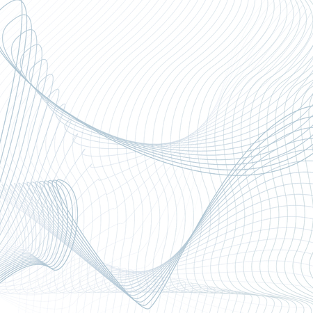 Blue net pattern on white background. Scientific and technical template. Line art modern sci-tech design, vector wavy technology grid. Abstract futuristic waving lines