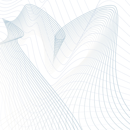 Abstract futuristic line art pattern. Wavy vector technology design. Scientific background. Media concept. Modern waving lines template in blue, gray, white hues