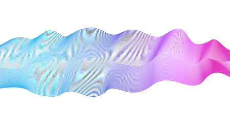 Flowing wave element on white background. Vector abstract glowing wavy pattern blue, violet, pink. Shiny waving lines. Line art elegant design. Colorful waves, ribbon imitation  イラスト・ベクター素材